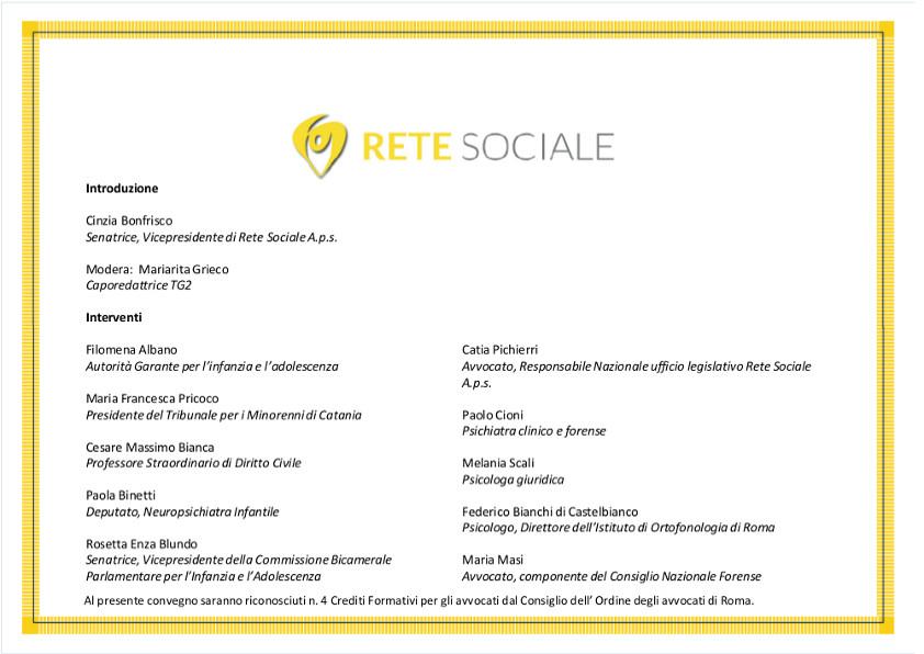Invito Convegno Rete Sociale 31 marzo 2017