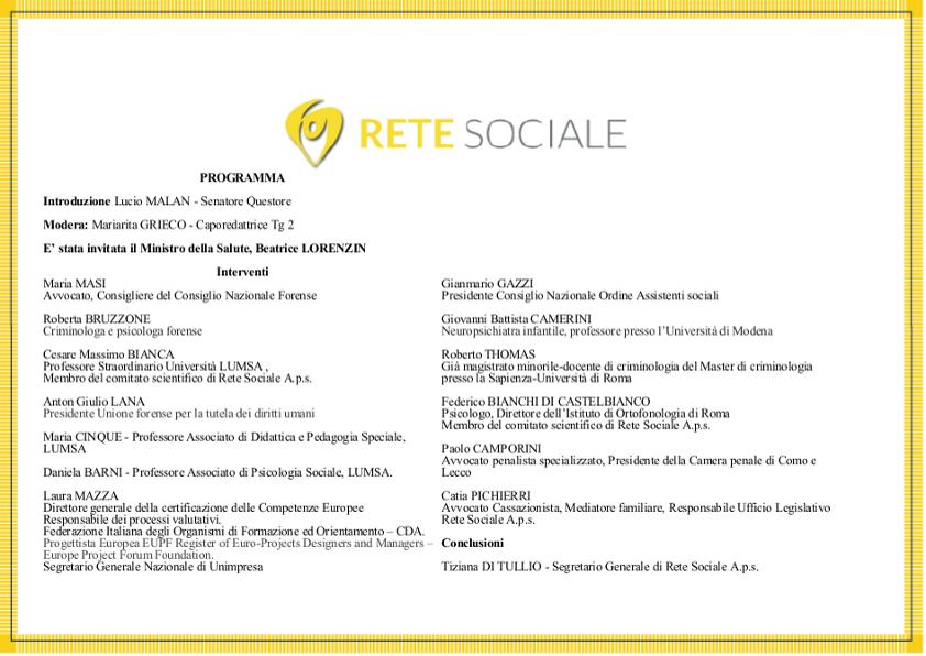 Invito Convegno Rete Sociale 28 SETTEMBRE 2017